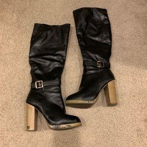 REPORT knee high black leather wooden heel boots 6